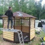 установка деревянной восьмигранной беседки