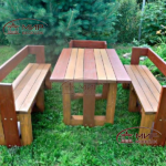 садовая мебель стол и скамейки со спинками